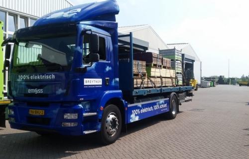Vrachtwagen-bouwlogistiek